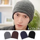 【E297035】雙層加厚毛線針織套頭帽 3色