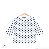 【INI】風格寬版、彈力韓版舒適面料波點上衣.白色