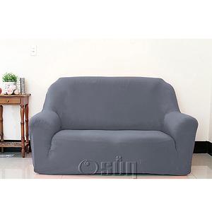 【Osun】素色系列-2人座一體成型防蹣彈性沙發套、沙發罩灰色