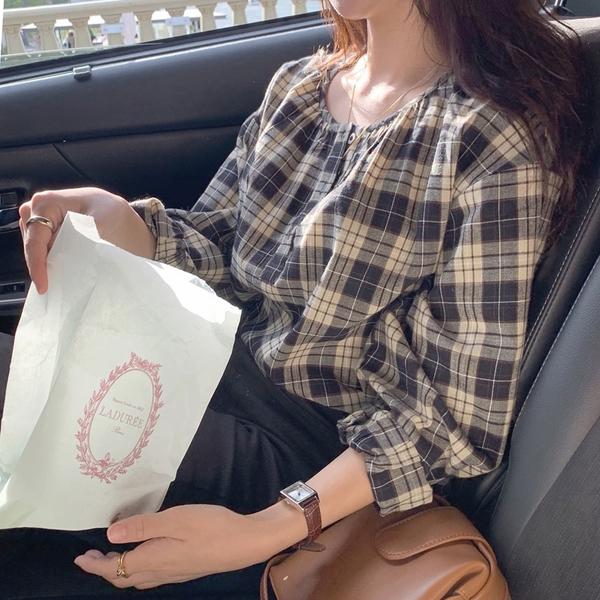 (免運)DE shop - 春秋復古簡約百搭寬鬆長袖格子襯衫小眾設計感 - XA-7566