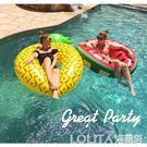 ins超大西瓜成人游泳圈菠蘿泳圈大人腋下圈水上充氣浮圈漂浮坐圈 LOLITA