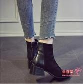 切爾西短靴 女秋冬季2020新款英倫風百搭粗跟刷毛瘦瘦靴切爾西網紅馬丁靴 2色