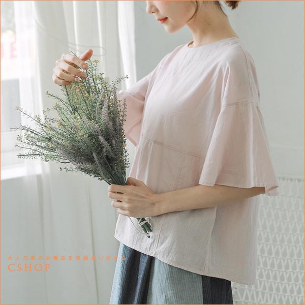 棉麻衫 日系質感拼接沁涼棉麻衫 四色-小C館日系