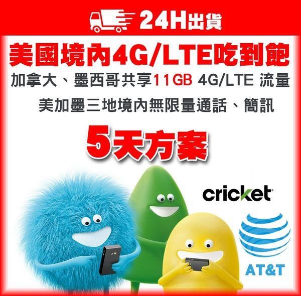 5天美加墨網卡 | 美國AT&T子公司Cricket 4G/LTE不降速吃到飽、含加拿大、墨西哥11GB高速流量