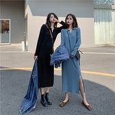 VK精品服飾 韓國風修身poloV領顯瘦針織開叉下擺長版長袖洋裝