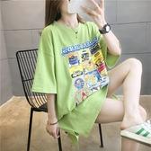 韓短袖T恤中長版上衣棉質新款印花中長款圓領短袖T恤女網紅同款連身裙大碼女裝 依品國際