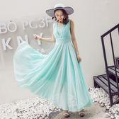 洋裝 雪紡連身裙少女韓版修身顯瘦學生氣質淑女胖mm長裙潮 迪澳安娜