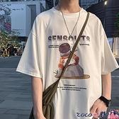 短袖T恤 港風潮牌印花短袖男原宿圓領情侶半袖五分袖T恤寬鬆打底衫 coco