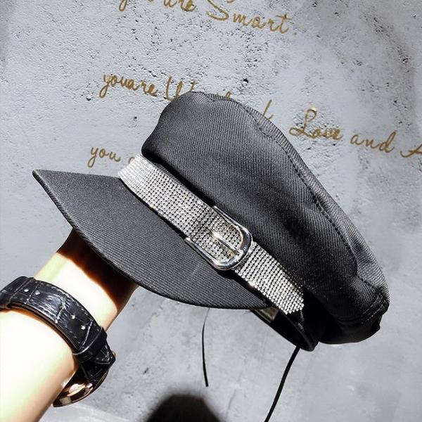 雅典娜水鉆邊帥氣軍帽斜紋料秋季新款黑色鴨舌帽街拍造型帽時裝帽1入