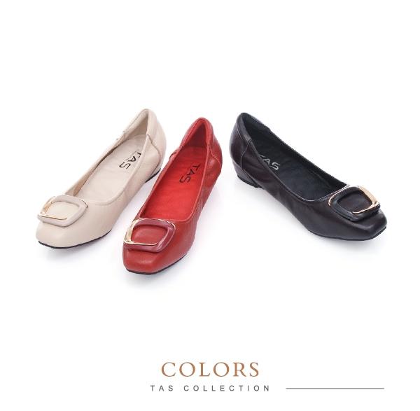 TAS金屬飾釦綿羊皮內增高娃娃鞋-人氣米