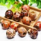 (50顆)貼花木珠批發 大孔 12mm珠子 串珠材料中國結香包吊飾裝飾天燈籠