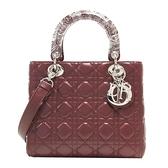 Dior 迪奧 棗紅色小羊皮Cannage縫線手提肩背2way包 Lady Dior【二手名牌BRAND OFF】