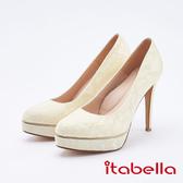 itabella.新娘晚宴-法式蕾絲高跟鞋(9630-05米色)