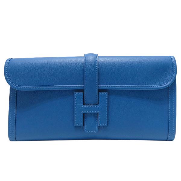 HERMES 愛馬仕 Jige Elan 29 clutch T7 Bleu Hydra 水蛇藍色牛皮手拿包 【二手名牌BRAND OFF】