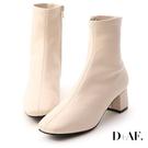 D+AF 秋冬定番.素面合腿中跟方頭襪靴...