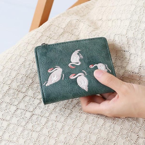 歐美學生ins刺繡火烈鳥短款小錢包女迷你錢夾森繫折疊零錢包       蜜拉貝爾