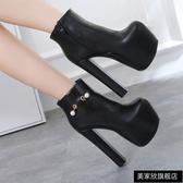 舞鞋16cm公分超高跟短靴模特t臺走秀粗跟防水臺性感鋼管舞鞋 斷碼清倉 快速出貨