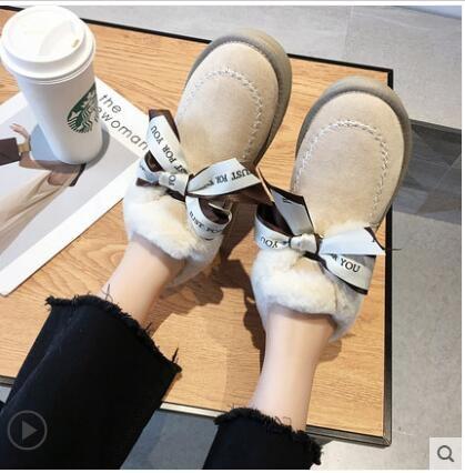 蝴蝶結雪地靴女2020年新款皮毛一體鞋冬加厚加絨蝴蝶結一腳蹬棉鞋 童趣潮品