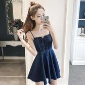 女裝夏裝  韓版牛仔吊帶裙子顯瘦露背小心機性感洋裝 米娜小鋪