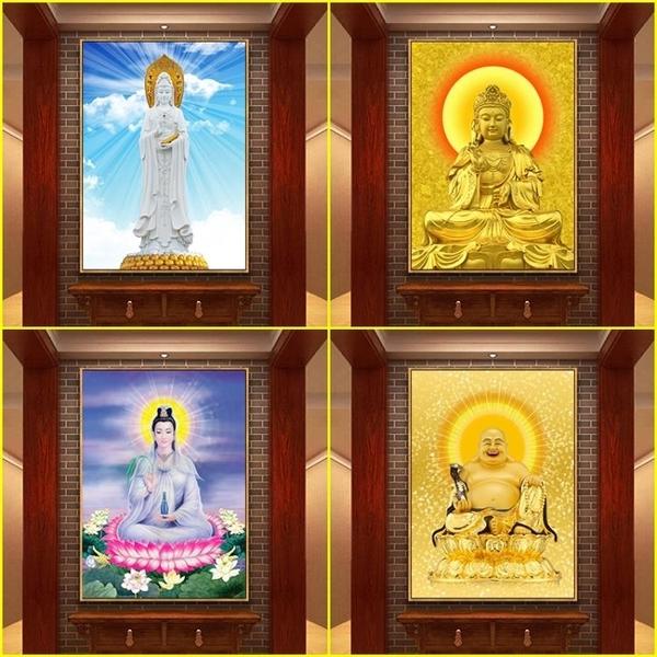 觀音畫像佛像掛畫客廳供奉鎮宅送子圖彌勒佛如來佛祖家用媽祖神像 熊熊物語