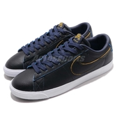 Nike 滑板鞋 SB Zoom Blazer Low GT NBA Warriors 黑 深藍 皮革鞋面 低筒 運動鞋 男鞋【PUMP306】 BQ6389-001