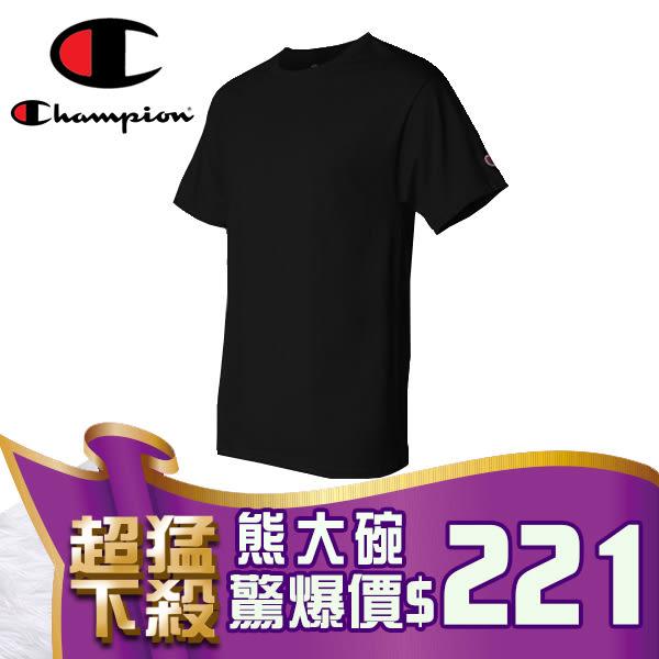 B301 Champion 短T 素T 冠軍 美國棉 經典LOGO 素面圓領T 短袖上衣 (黑色)【熊大碗福利社】
