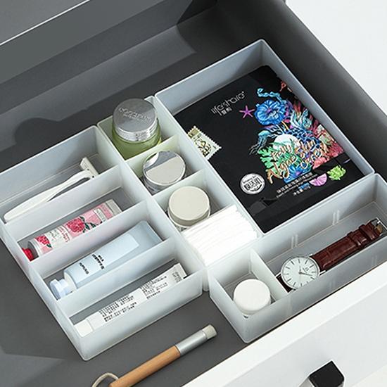 置物盒 收納盒 分格盒 儲物盒 大 整理盒 活動式 抽屜收納 置物架 磨砂分格收納盒【Q114-1】慢思行
