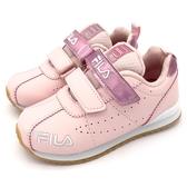 《7+1童鞋》FILA  2-J828T-511   貴族氣息  皮面   魔鬼氈  機能運動鞋 4266  粉色