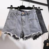 牛仔短褲—高腰牛仔短褲女夏新款韓版學生寬鬆大碼胖mm毛邊a字闊腿熱褲 依夏嚴選