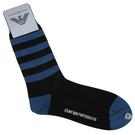 Emporio Armani 老鷹繡紋雙色橫條休閒襪(藍/黑)980290-3