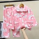 秋冬季兒童珊瑚絨睡衣男童女童女孩寶寶小孩加厚法蘭絨家居服套裝 牛年新年全館免運