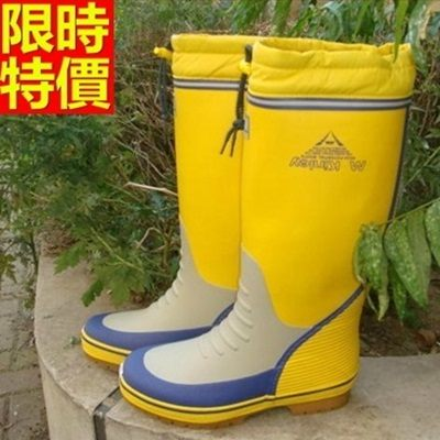 男雨靴-男雨具加厚棉裡保暖舒適防滑男長筒雨鞋2色67a43[時尚巴黎]