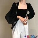 泡泡袖上衣 法式宮廷風復古絲絨襯衫女裝秋季設計感小眾襯衣黑色長袖短款上衣寶貝計畫 上新