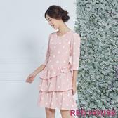 【RED HOUSE 蕾赫斯】點點蛋糕蝴蝶結洋裝(粉色)
