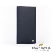 【BRAUN BUFFEL】德國小金牛HOMME-M系列極光紋17卡零錢袋長夾(深藍)BF306-301-MAR