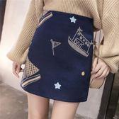 VK精品服飾 韓系毛呢料刺繡短裙半身裙包臀裙單品短裙