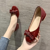 小皮鞋 春秋溫柔氣質淺口軟皮單鞋2021秋季新款百搭方頭中跟方跟小皮鞋女 韓國時尚週