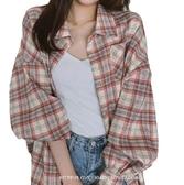 EASON SHOP(GW7667)韓版棉麻撞色格紋單口袋排釦開衫長袖襯衫外套格子罩衫上衣落肩寬鬆防曬衫空調衫