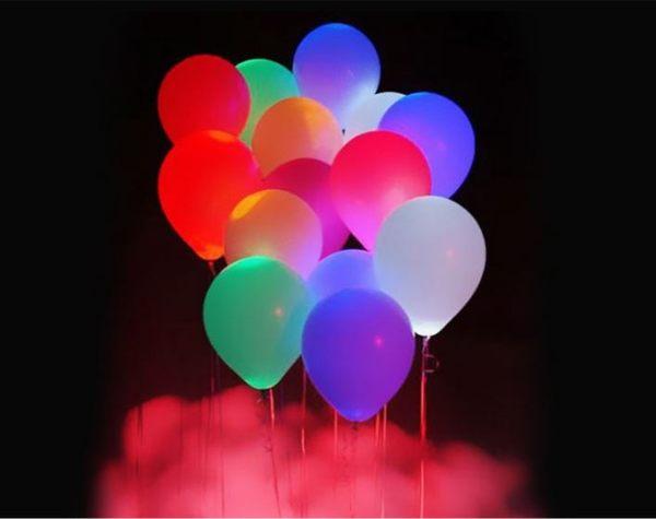 led夜光發光氣球閃光氣球七彩閃/燈光單色白燈心形氣球 一包五個 79元