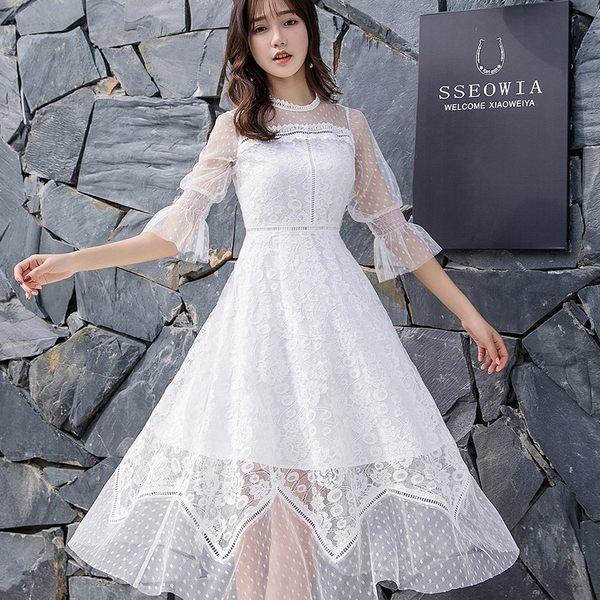 法式蕾絲甜美網紗袖洋裝