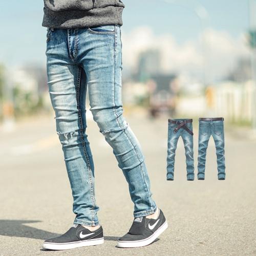 牛仔褲 簡約刷色刀割彈性窄版牛仔褲【NB0442J】