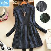 【V2676】shiny藍格子-日系甜美.排釦波點長袖洋裝