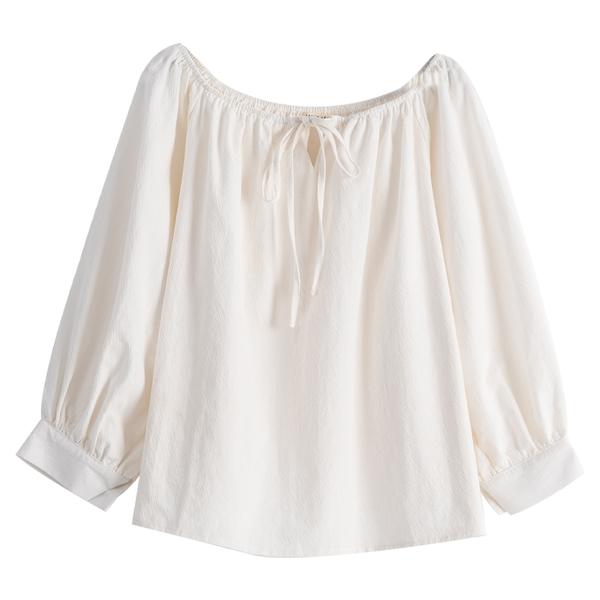 Queen Shop【01096893】清新一字領造型綁帶上衣*現+預*