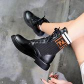 歐洲站馬丁靴女新款韓版高筒夏季透氣靴子學生秋季襪靴酷