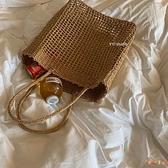 草編包大容量鏤空網格方形側背包沙灘包海邊度假編織包【倪醬小舖】