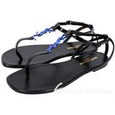 YSL Saint Laurent NU PIEDS 05 夾腳涼鞋(黑x藍) 1740187-01