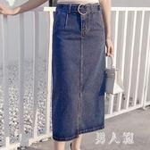 中大尺碼 半身裙2018新款韓版系帶修身百搭高腰牛仔半身長裙女開叉包臀 df212男人範
