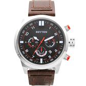 RHYTHM 日本麗聲 三眼計時手錶-48mm SI1602L01