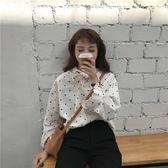 2018春季新款前后兩穿韓版領口系帶波點氣質百搭套頭長袖襯衣女潮