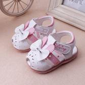 0-2歲女寶寶夏季蝴蝶結亮燈涼鞋可愛嬰兒童鞋防滑軟底公主學步鞋